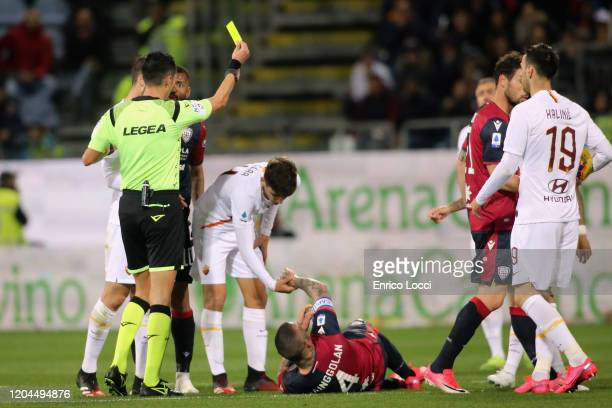 Admonition of Radja Nainggolan of Cagliari during the Serie A match between Cagliari Calcio and AS Roma at Sardegna Arena on March 1, 2020 in...