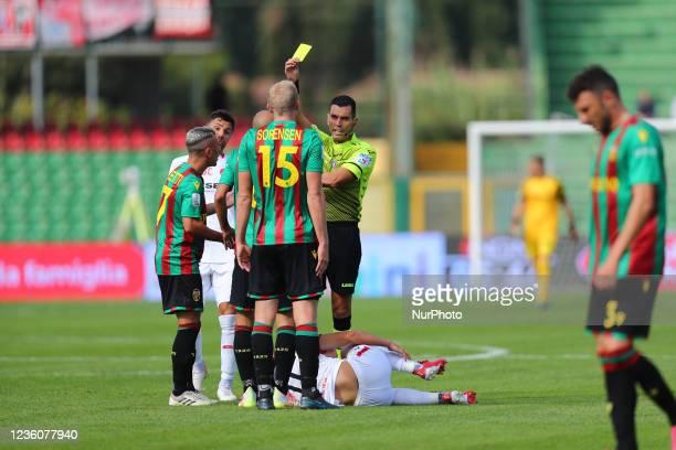 Admonition Sorensen Frederik after irregular contact during the Italian Football Championship League BKT Ternana Calcio vs LR Vicenza on October 23,...