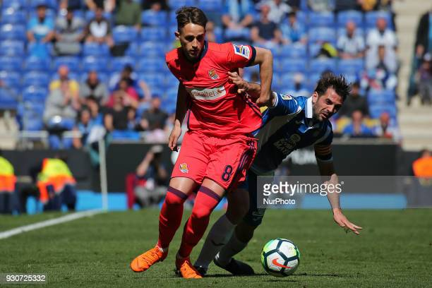 Adnan Januzaj and Victor Sanchez during the match between RCD Espanyol and Real Sociedad for the round 28 of the Liga Santander played at the RCD...