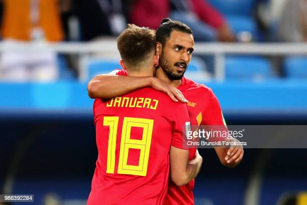 Adnan Januzaj of Belgium celebraes with teammate Nacer Chadli after scoring his sides first goal during the 2018 FIFA World Cup Russia group G match...