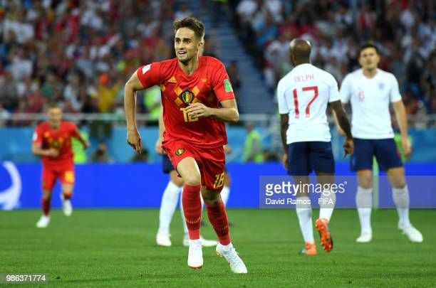 Adnan Januzaj of Belgium celebrates scoring his team's opening goal during the 2018 FIFA World Cup Russia group G match between England and Belgium...