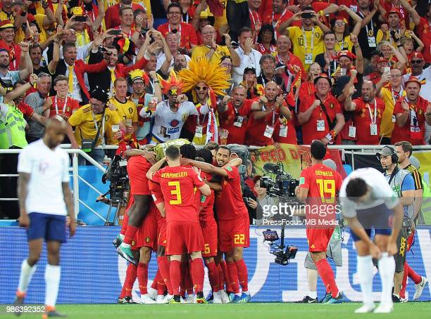 Adnan Januzaj of Belgium celebrates scoring the goal with team mates during the 2018 FIFA World Cup Russia group G match between England and Belgium...
