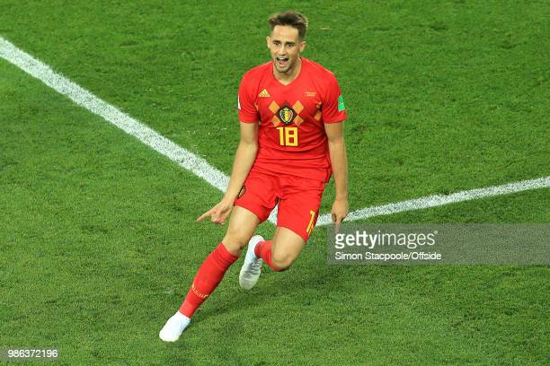 Adnan Januzaj of Belgium celebrates scoring the opening goal during the 2018 FIFA World Cup Russia Group G match between England and Belgium at...