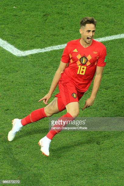Adnan Januzaj of Belgium celebrates scoring the opening goal during the 2018 FIFA World Cup Russia Group G match between England and Belgium at...
