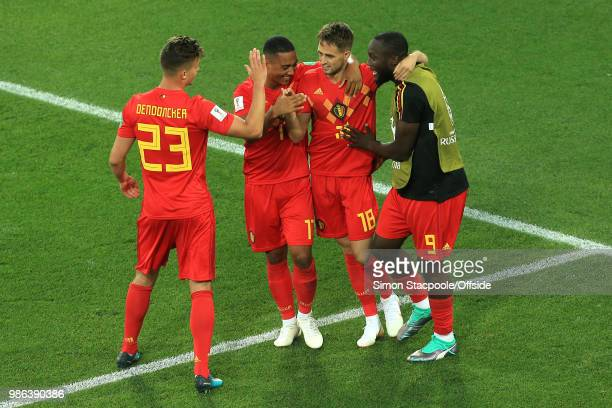 Adnan Januzaj of Belgium celebrates scoring the opening goal with Leander Dendoncker of Belgium Youri Tielemans of Belgium and Romelu Lukaku of...