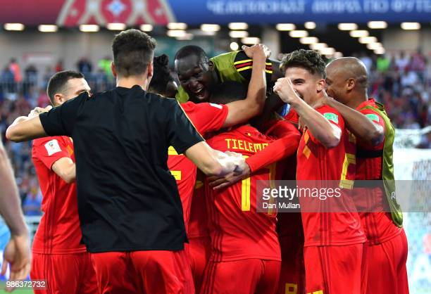 Adnan Januzaj of Belgium celebrates with teammates afte rscoring his team's opening goal during the 2018 FIFA World Cup Russia group G match between...