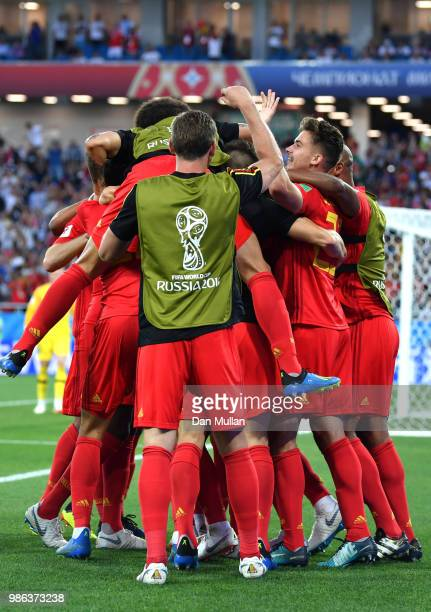 Adnan Januzaj of Belgium celebrates with teammates after scoring his team's first goal during the 2018 FIFA World Cup Russia group G match between...