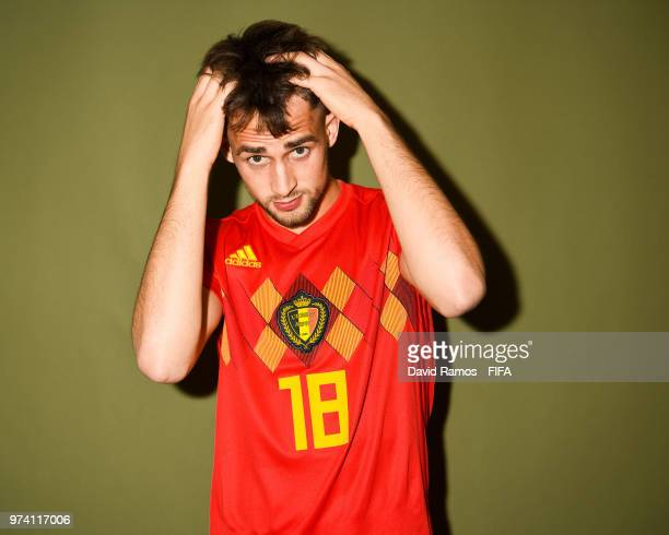 Adnan Januzaj of Belgium poses during the official FIFA World Cup 2018 portrait session at the Moscow Country Club on June 14 2018 in Moscow Russia
