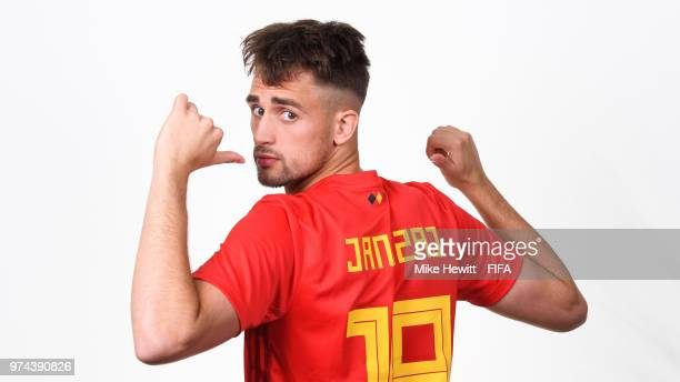 Adnan Januzaj of Belgium poses for a portrait during the official FIFA World Cup 2018 portrait session at the Moscow Country Club on June 14 2018 in...