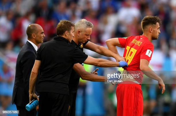 Adnan Januzaj of Belgium receives medical treatment during the 2018 FIFA World Cup Russia group G match between England and Belgium at Kaliningrad...