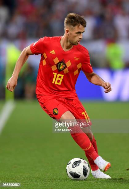 Adnan Januzaj of Belgium runs with the ball during the 2018 FIFA World Cup Russia group G match between England and Belgium at Kaliningrad Stadium on...