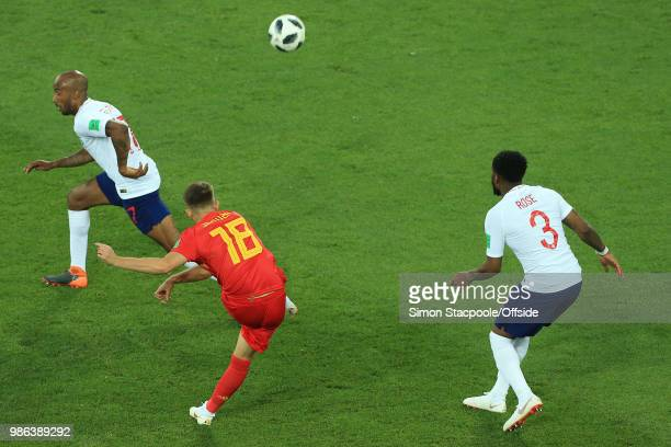 Adnan Januzaj of Belgium score the opening goal during the 2018 FIFA World Cup Russia Group G match between England and Belgium at Kaliningrad...