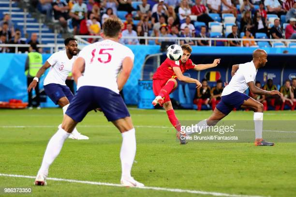 Adnan Januzaj of Belgium scores his sides first goal during the 2018 FIFA World Cup Russia group G match between England and Belgium at Kaliningrad...
