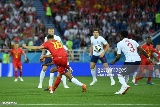 Adnan Januzaj of Belgium scores his team's first goal during the 2018 FIFA World Cup Russia group G match between England and Belgium at Kaliningrad...