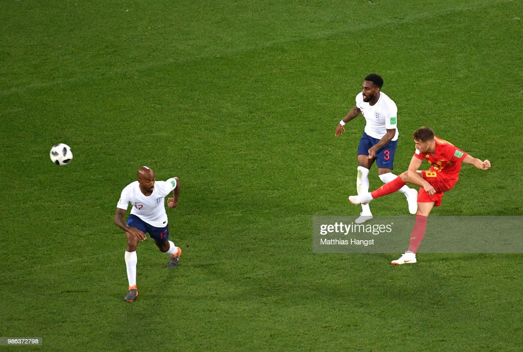 Adnan Januzaj of Belgium scores his team's first goal during the 2018 FIFA World Cup Russia group G match between England and Belgium at Kaliningrad Stadium on June 28, 2018 in Kaliningrad, Russia.