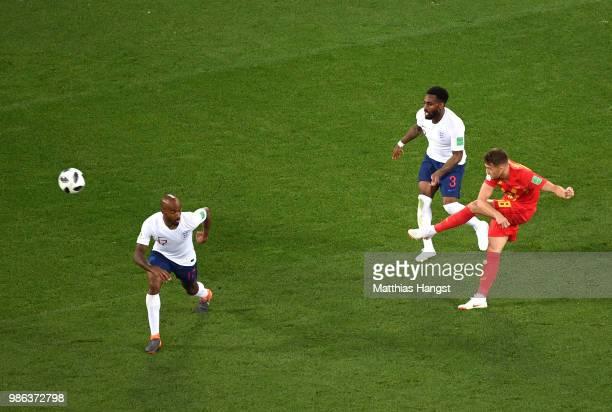 Adnan Januzaj of Belgium scores his team's first goal during the 2018 FIFA World Cup Russia group G match between England and Belgium at Kaliningrad...