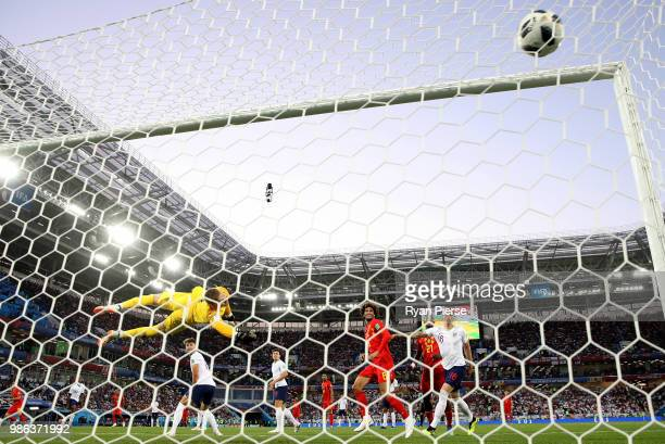 Adnan Januzaj of Belgium scores his team's first goal past Jordan Pickford of England during the 2018 FIFA World Cup Russia group G match between...