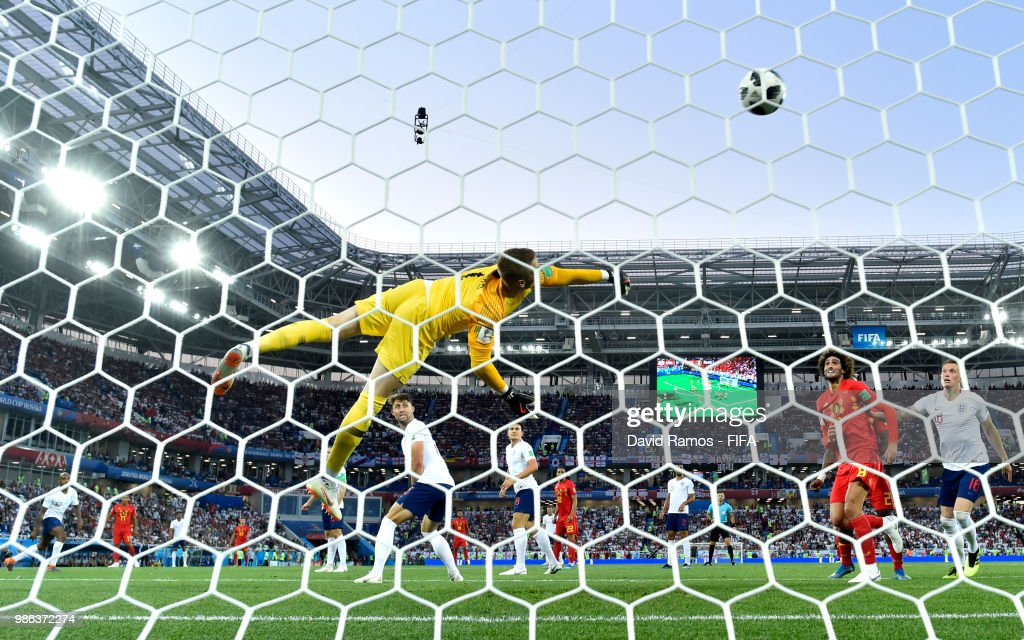 Adnan Januzaj of Belgium scores his team's first goal past Jordan Pickford of England during the 2018 FIFA World Cup Russia group G match between England and Belgium at Kaliningrad Stadium on June 28, 2018 in Kaliningrad, Russia.