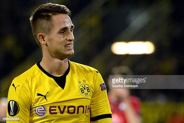 Adnan Januzaj of Dortmund reacts during the UEFA Europa League group stage match between Borussia Dortmund and Qabala FK at Signal Iduna Park on...