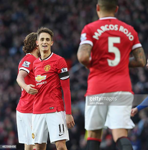 Adnan Januzaj of Manchester United celebrates his part in Wes Morgan of Leicester City scores an owngoal during the Barclays Premier League match...