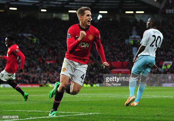 Adnan Januzaj of Manchester United celebrates scoring his team's second goal during the Barclays Premier League match between Manchester United and...