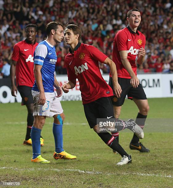Adnan Januzaj of Manchester United celebrates scoring their fourth goal during the preseason friendly match between Kitchee FC and Manchester United...