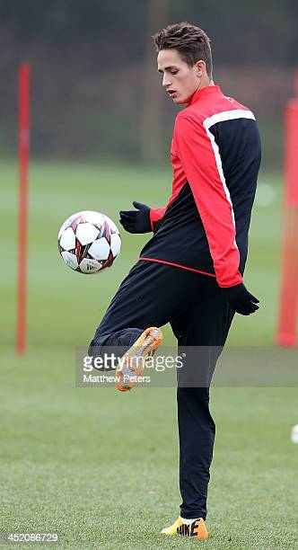 Adnan Januzaj of Manchester United in action during a first team training session ahead of their UEFA Champions League Group A match against Bayer...