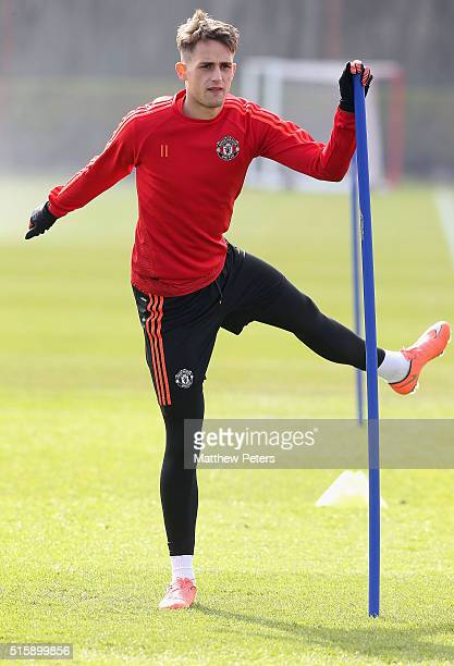 Adnan Januzaj of Manchester United in action during a first team training session ahead of their UEFA Europa League Round of 16 Second Leg match...