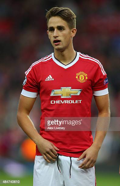Adnan Januzaj of Manchester United lines up prior to the UEFA Champions League Qualifying Round Play Off First Leg match between Manchester United...