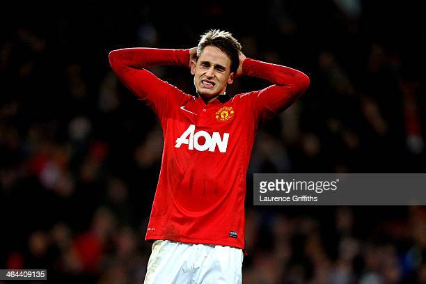 Adnan Januzaj of Manchester United reacts after his penalty is saved during the Capital One Cup semi final, second leg match between Manchester...