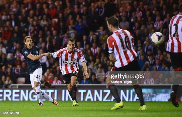 Adnan Januzaj of Manchester United scores his team's second goal during the Barclays Premier League match between Sunderland and Manchester United at...