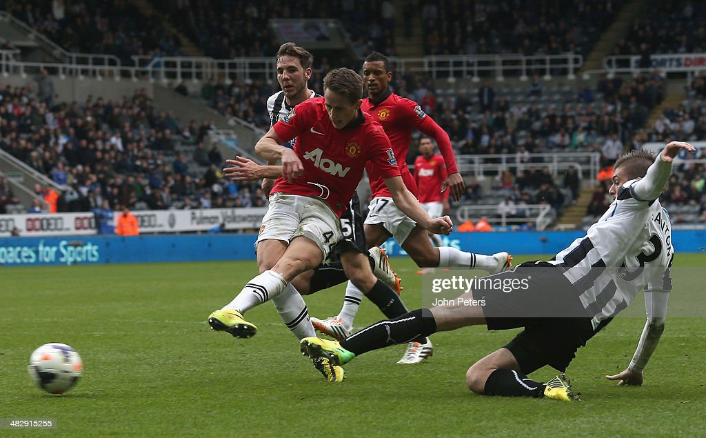 Adnan Januzaj of Manchester United scores their fourth goal during the Barclays Premier League match between Newcastle United and Manchester United at St James' Park on April 5, 2014 in Newcastle upon Tyne, England.