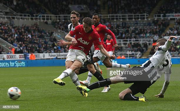 Adnan Januzaj of Manchester United scores their fourth goal during the Barclays Premier League match between Newcastle United and Manchester United...