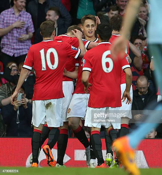 Adnan Januzaj of Manchester United U21s celebrates scoring their second goal during the Barclays U21 Premier League match between Manchester United...