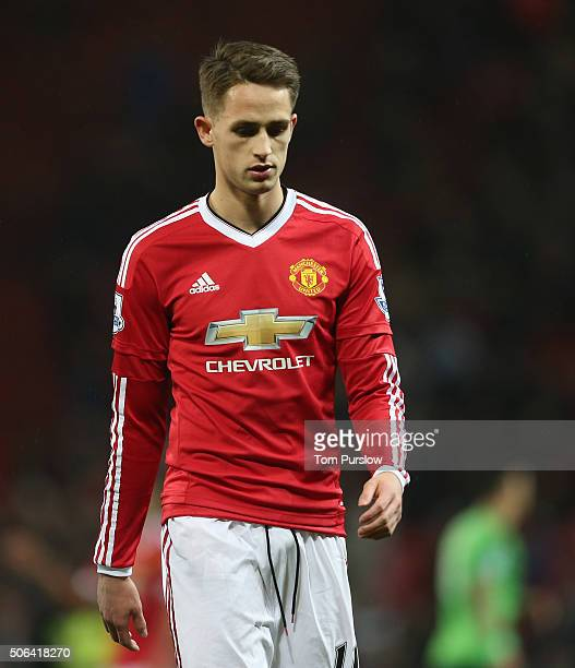Adnan Januzaj of Manchester United walks off after the Barclays Premier League match between Manchester United and Jose Fonte at Old Trafford on...