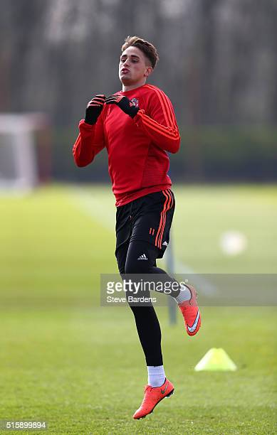 Adnan Januzaj of Manchester United warms up during a training session ahead of the UEFA Europa League round of 16 second leg match between Manchester...