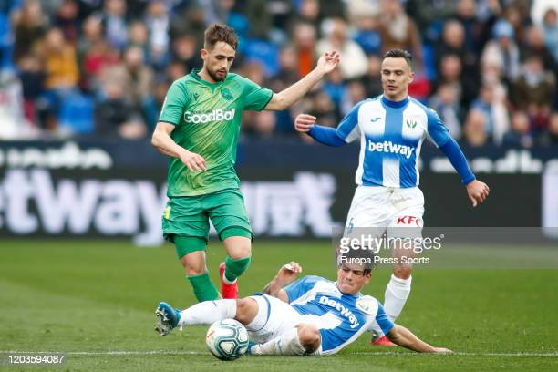 Adnan Januzaj of Real Sociedad and Jonathan Silva of Leganes in action during the Spanish League La Liga football match played between CD Leganes and...