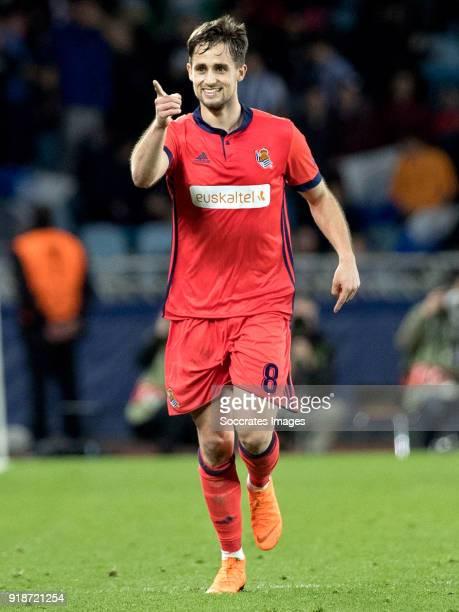 Adnan Januzaj of Real Sociedad celebrates 21 during the UEFA Europa League match between Real Sociedad v Salzburg at the Estadio Anoeta on February...