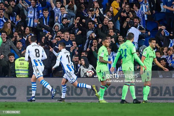 Adnan Januzaj of Real Sociedad celebrates after scoring during the La Liga match between Real Sociedad and Levante UD at Estadio Anoeta on March 15...