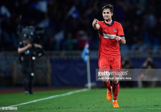 Adnan Januzaj of Real Sociedad celebrates after scoring during UEFA Europa League Round of 32 match between Real Sociedad and FC Red Bull Salzburg at...