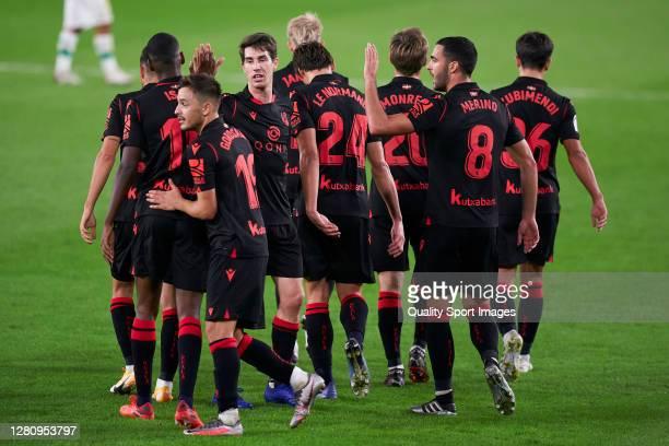 Adnan Januzaj of Real Sociedad celebrates after scoring his team's third goal during the La Liga Santander match between Real Betis and Real Sociedad...