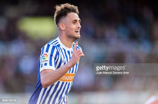 Adnan Januzaj of Real Sociedad celebrates after scoring his team's second goal during the La Liga match between Real Sociedad de Futbol and Girona FC...