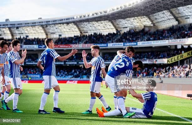 Adnan Januzaj of Real Sociedad celebrates after scoring his team's second goal during the La Liga match between Real Sociedad de Futbol and Girona FC...