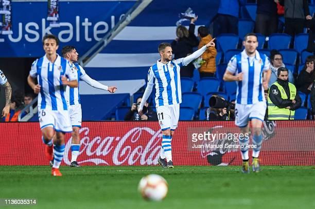 Adnan Januzaj of Real Sociedad celebrates after scoring the opening goal during the La Liga match between Real Sociedad and Levante UD at Estadio...