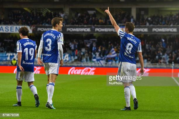 Adnan Januzaj of Real Sociedad celebrates his goal after scoring during the Spanish league football match between Real Sociedad and U D Las Palmas at...