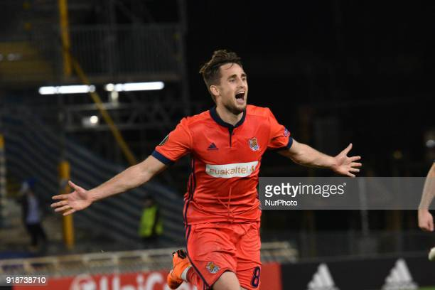 Adnan Januzaj of Real Sociedad celebrates with teammates after scoring during the UEFA Europa League Round of 8 1st Leg match between Real Sociedad...