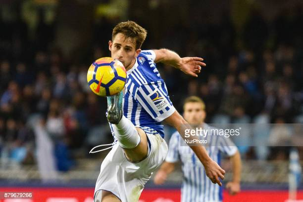 Adnan Januzaj of Real Sociedad during the Spanish league football match between Real Sociedad and U D Las Palmas at the Anoeta Stadium on 26 November...