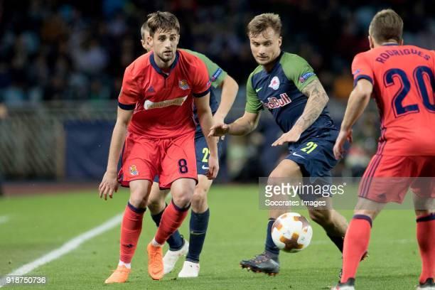 Adnan Januzaj of Real Sociedad Fredrik Gulbrandsen of Red Bull Salzburg during the UEFA Europa League match between Real Sociedad v Salzburg at the...