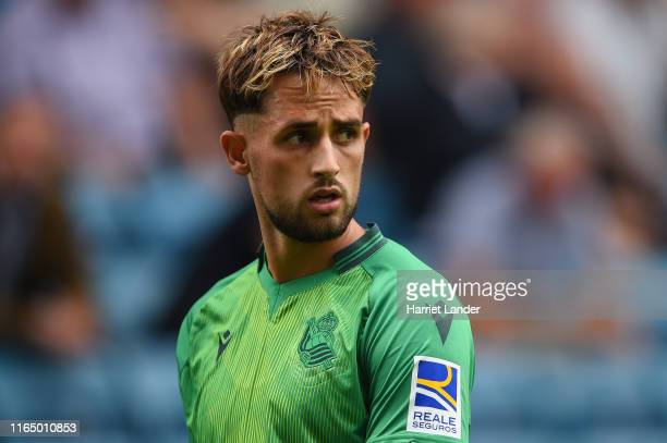 Adnan Januzaj of Real Sociedad looks on during the Pre-Season Friendly between Millwall and Real Sociedad at The Den on July 27, 2019 in London,...