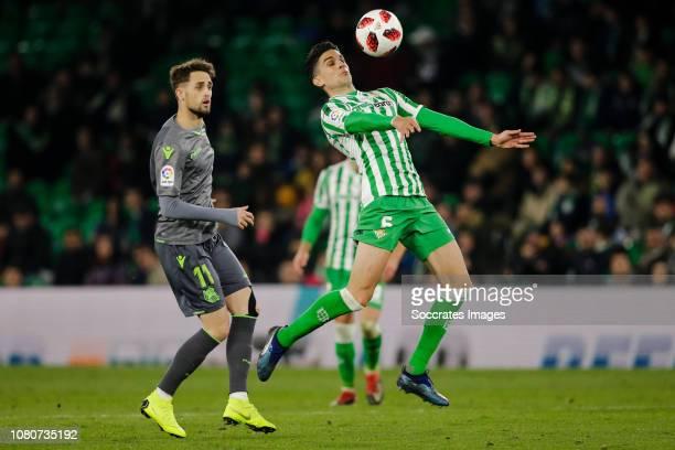 Adnan Januzaj of Real Sociedad Marc Bartra of Real Betis during the Spanish Copa del Rey match between Real Betis Sevilla v Real Sociedad at the...